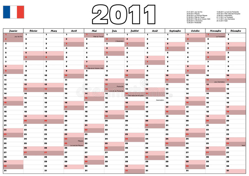 Kalender 2011 het Frans stock illustratie