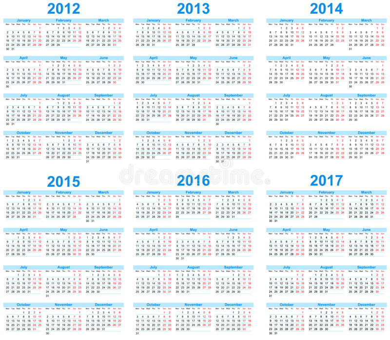 kalender 2012 2017 royaltyfri illustrationer