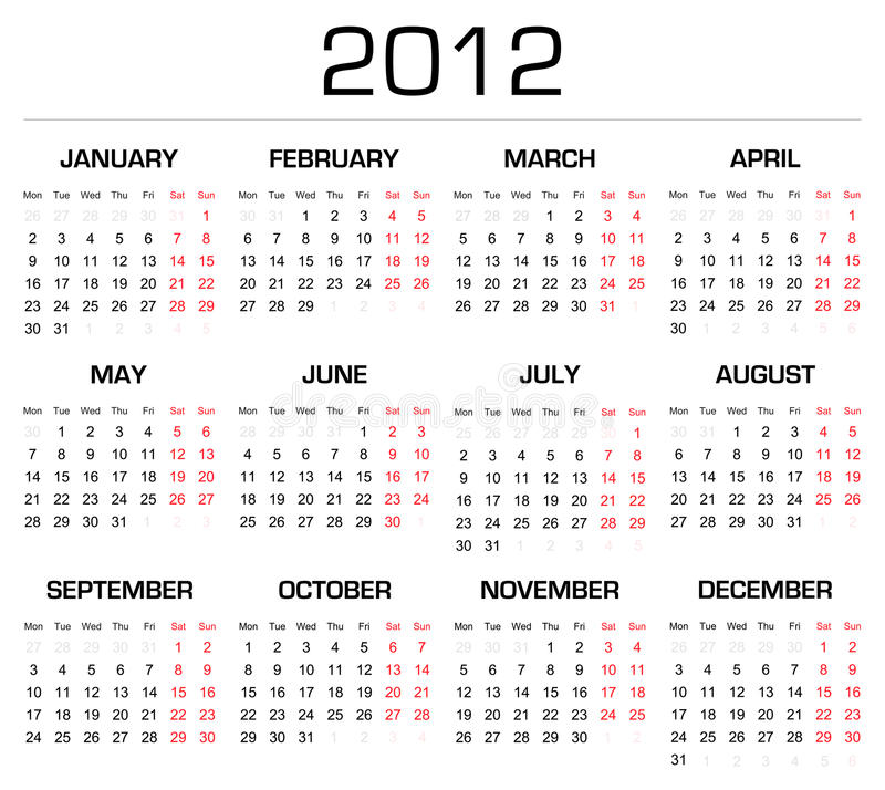 Kalender 2012 vektor abbildung