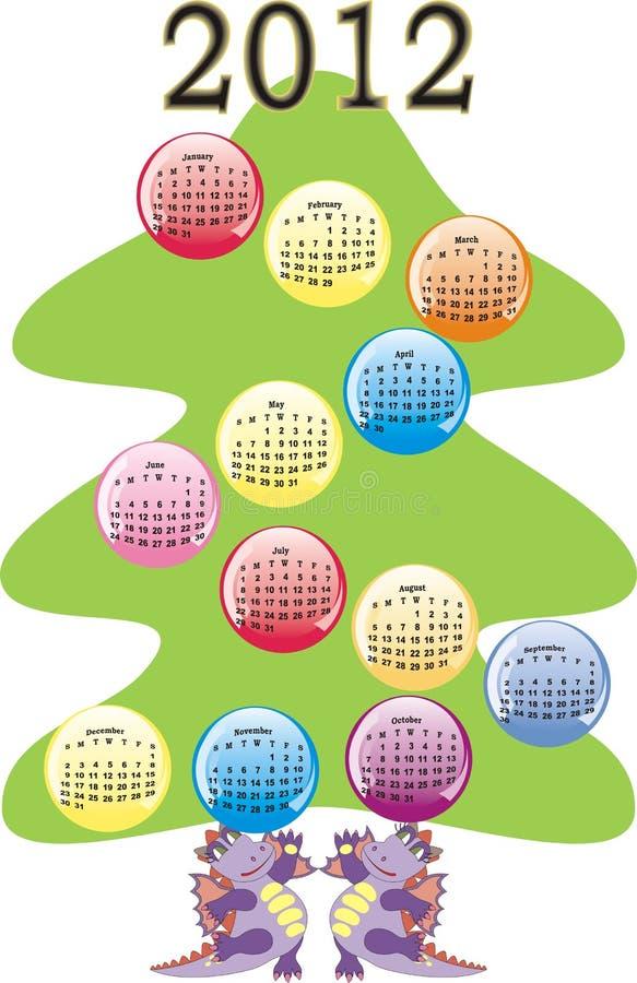 Kalender 2012 på jultree royaltyfri illustrationer