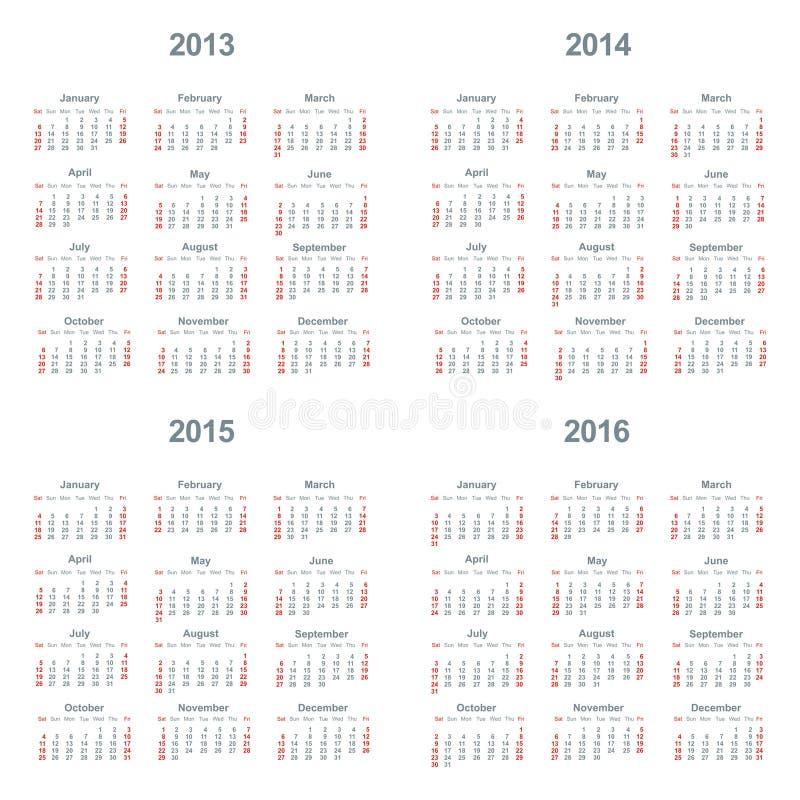 Kalender 2013, 2014, 2015, 2016 vektor abbildung
