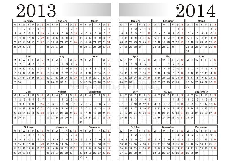 KALENDER 2013-2014 stock illustratie