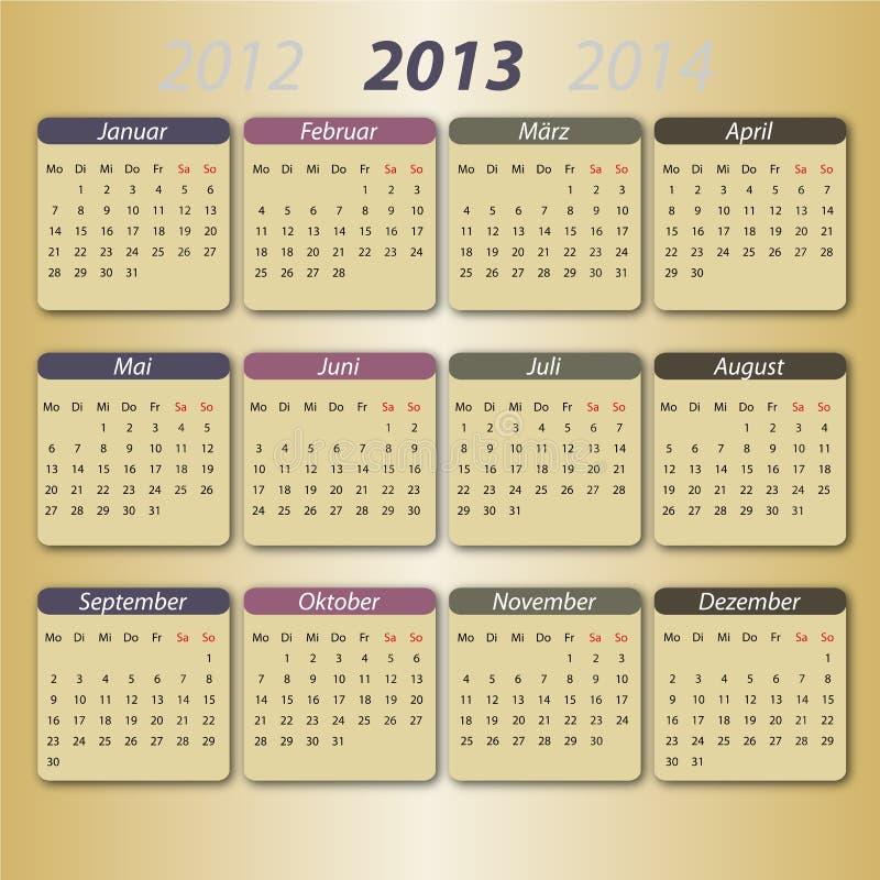 kalender 2013 deutsch vector illustratie afbeelding bestaande uit gekleurd 23203772. Black Bedroom Furniture Sets. Home Design Ideas