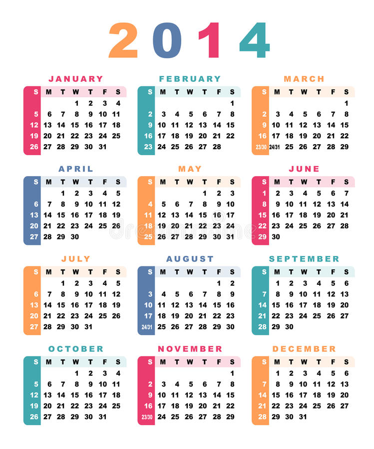 Kalender 2014 stock illustratie