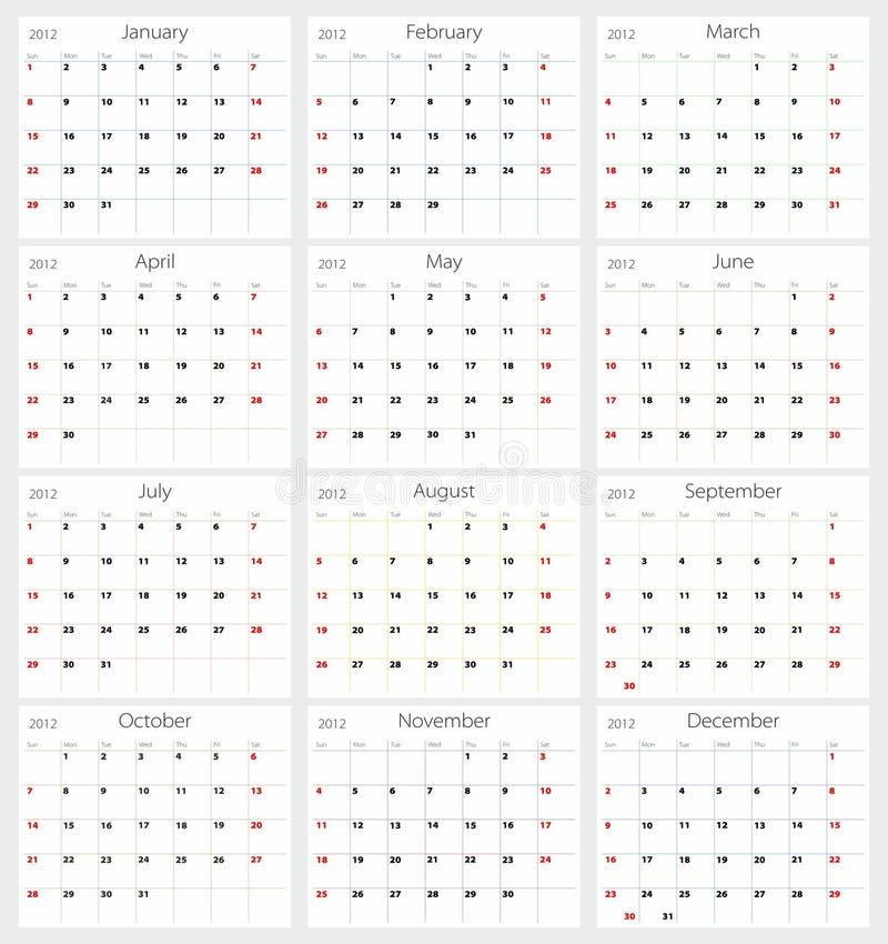 kalender vektor illustrationer
