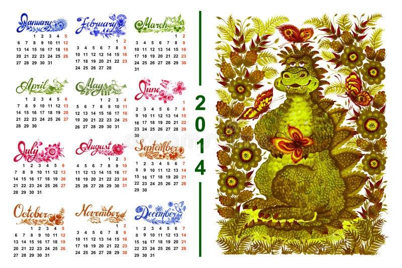 Kalender 2014 royalty-vrije illustratie