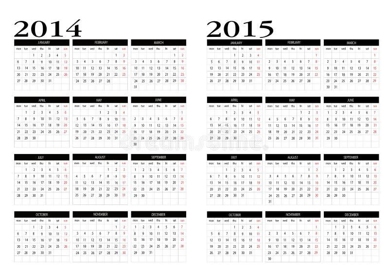 Kalender 2014-2015 stock illustratie