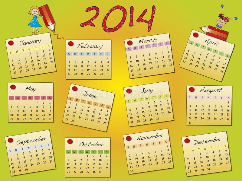 Kalender 2014 vector illustratie