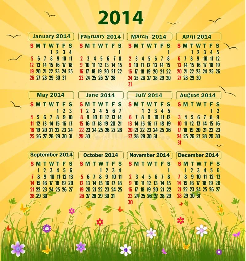 Kalender 2014 vektor abbildung