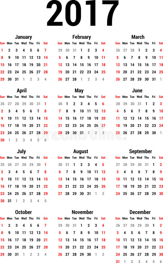 Kalender 2017 vektor abbildung