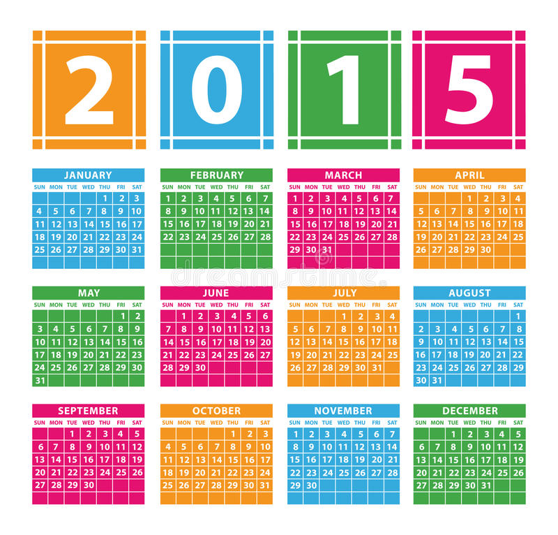 Kalender 2015 lizenzfreie abbildung