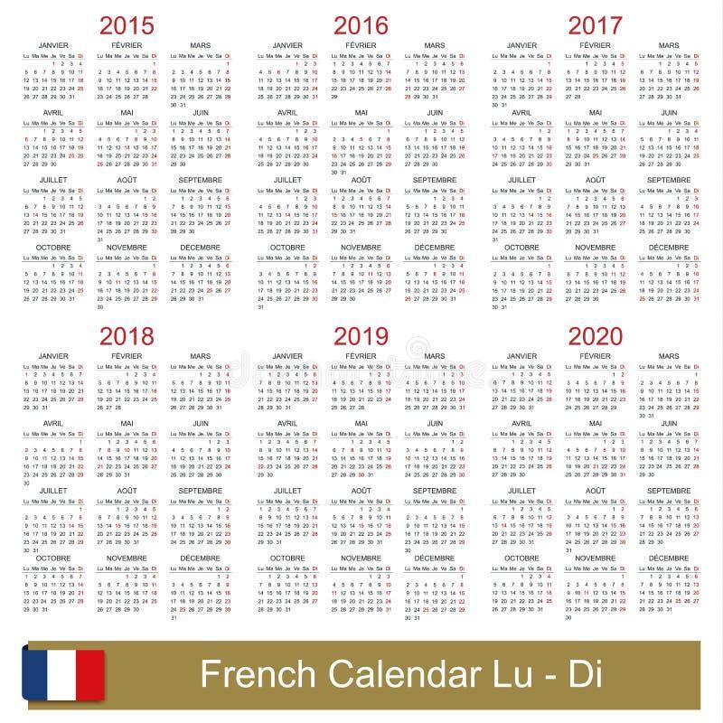 Kalender 2015-2020 stock abbildung