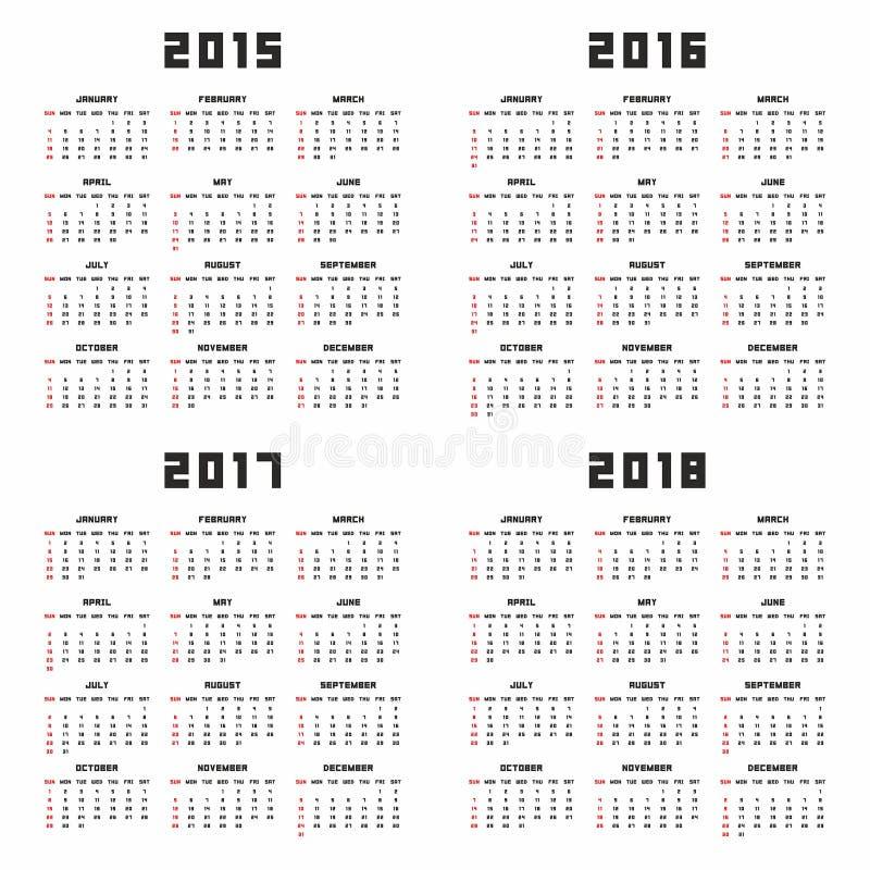 Kalender 2015 2016 2017 2018 stock illustrationer