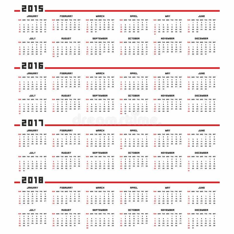 Kalender 2015, 2016, 2017, 2018 vektor abbildung
