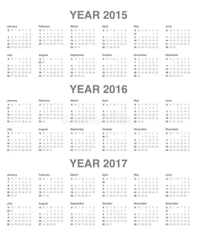 Kalender 2015, 2016, 2017 stock abbildung