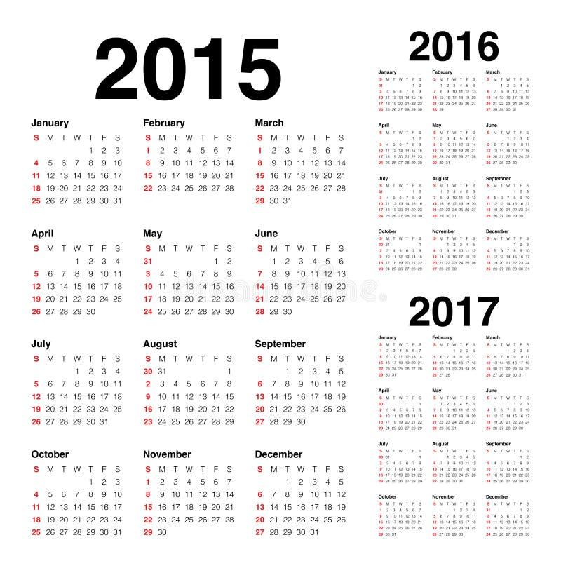 Kalender 2015 2016 2017 lizenzfreie abbildung