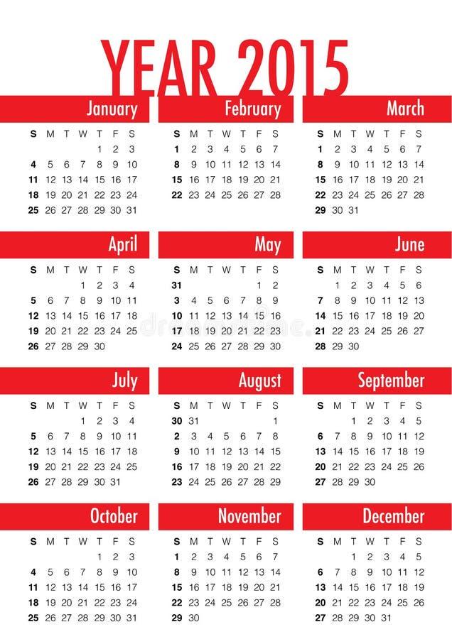 Kalender 2015 vektor abbildung