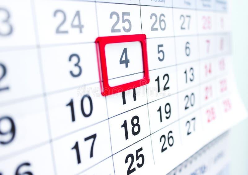 Kalender 4 lizenzfreie stockbilder