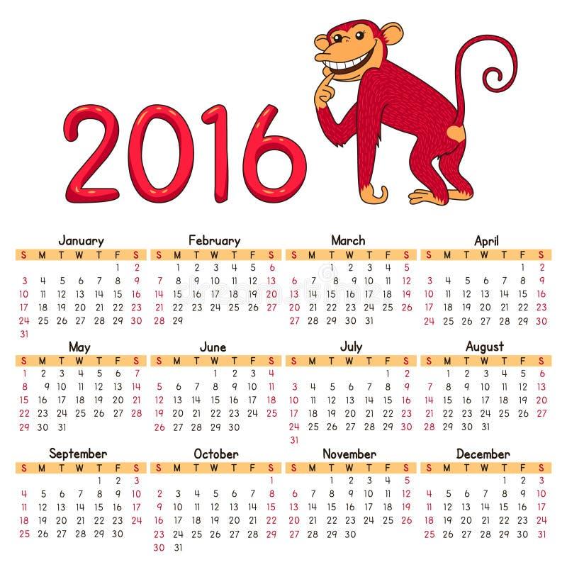 Kalender 2016 lizenzfreie abbildung