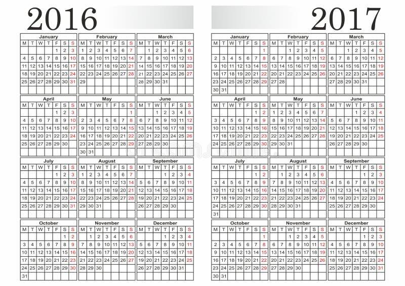 KALENDER 2016-2017 stock abbildung