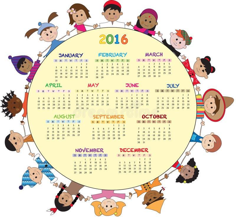 Kalender 2016 vector illustratie