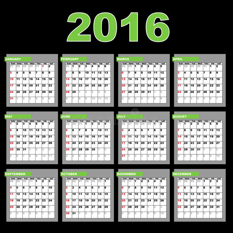 kalender 2016 vektor illustrationer