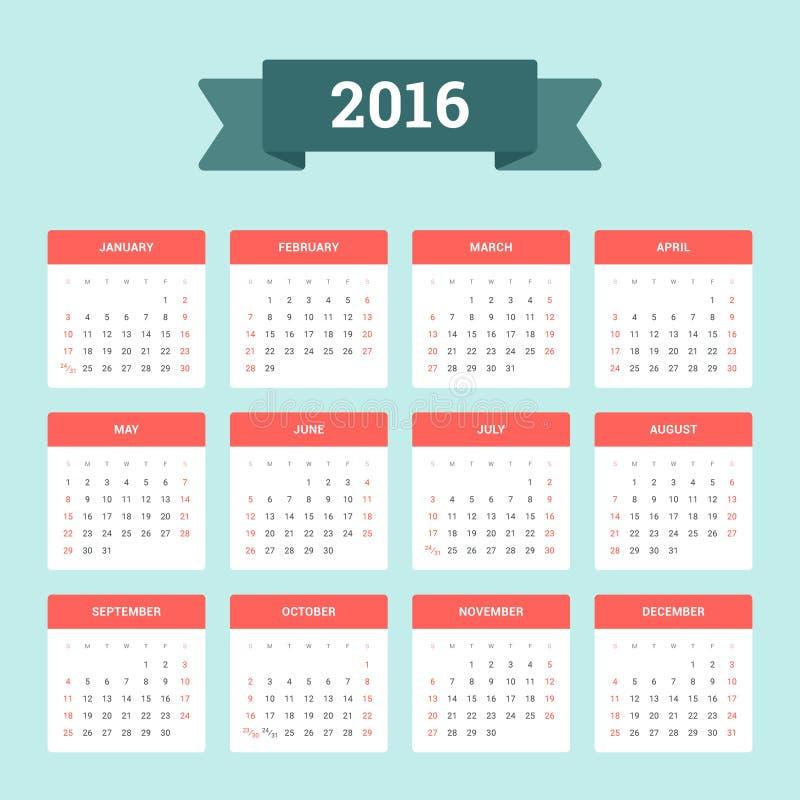 Kalender 2016 stock abbildung