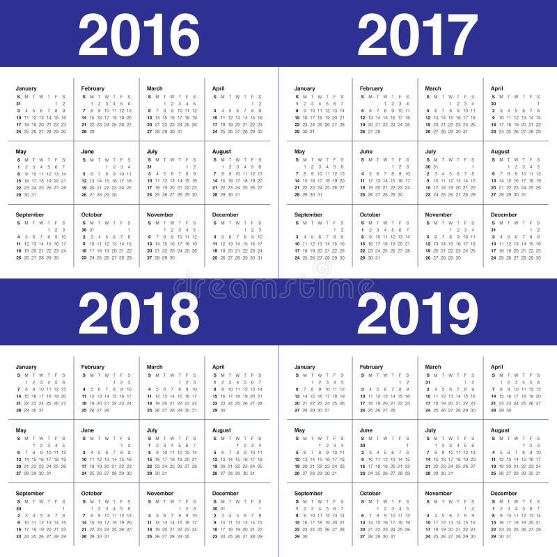 Kalender 2016 2017 2018 2019 royaltyfri illustrationer
