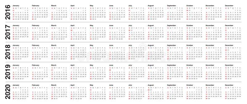 kalender 2016 2017 2018 2019 2020 vektor abbildung illustration von monat jahr 61329711. Black Bedroom Furniture Sets. Home Design Ideas