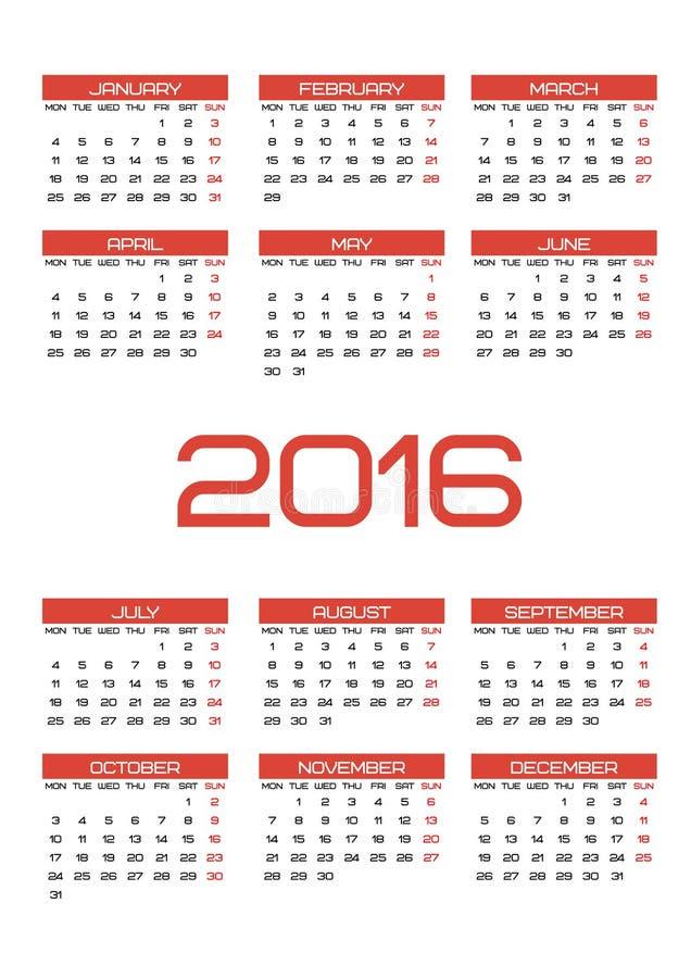 Kalender 2016 stock illustratie