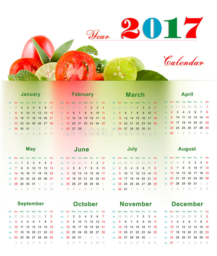 Kalender 2017 royaltyfri illustrationer