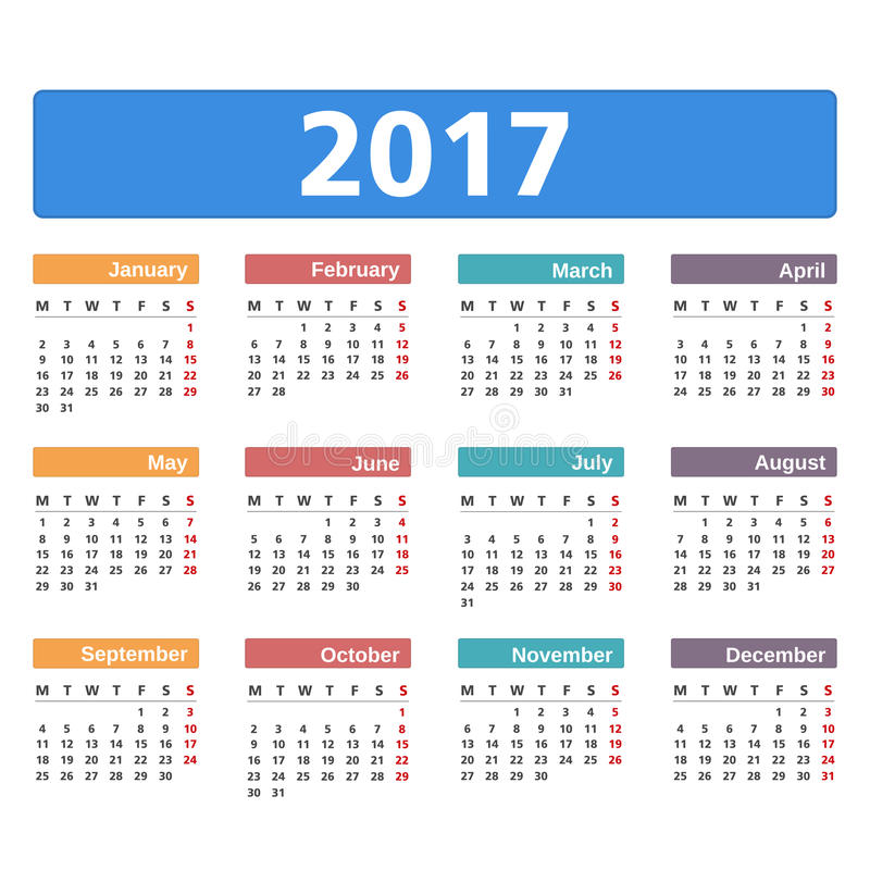 kalender 2017 stock illustrationer