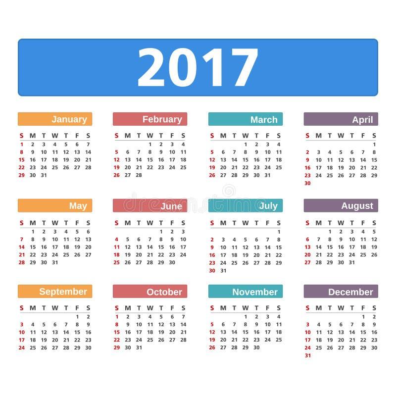 kalender 2017 vektor illustrationer