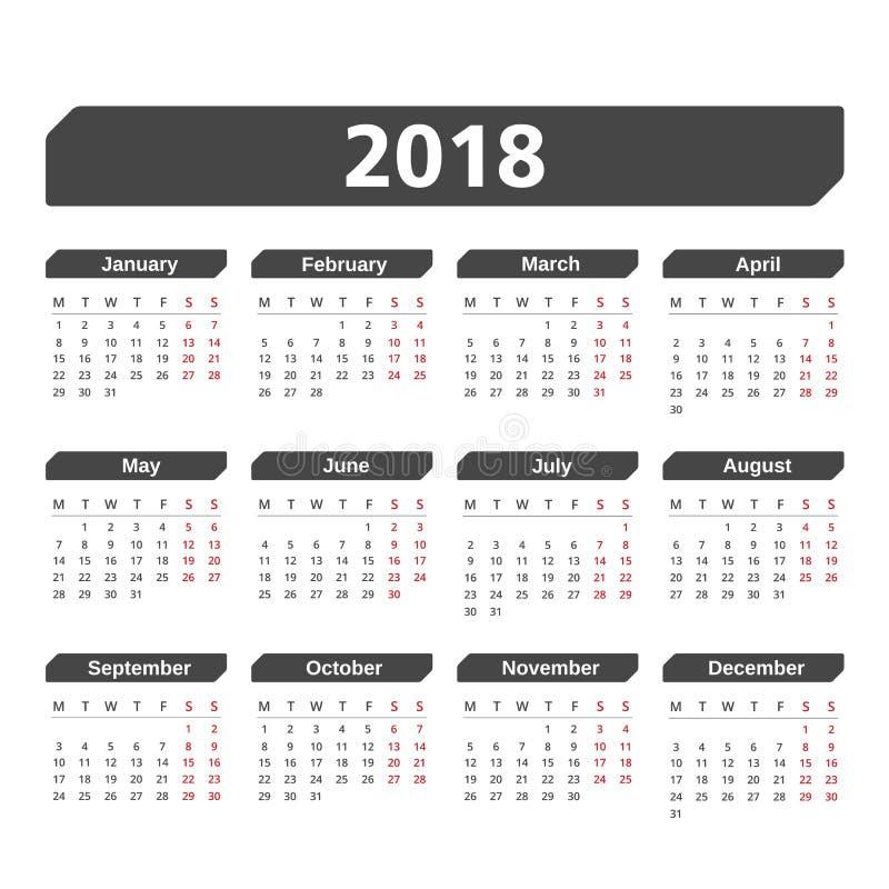 Kalender 2018 vektor abbildung