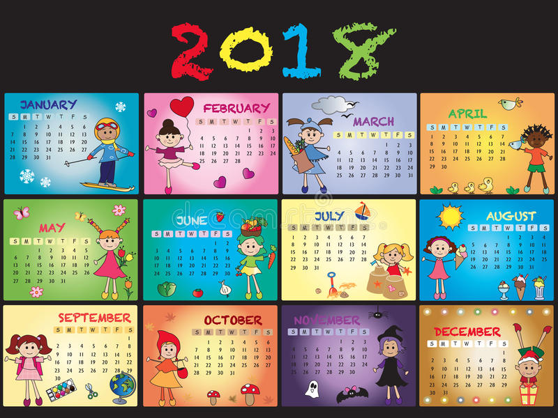Kalender 2018 stock illustratie
