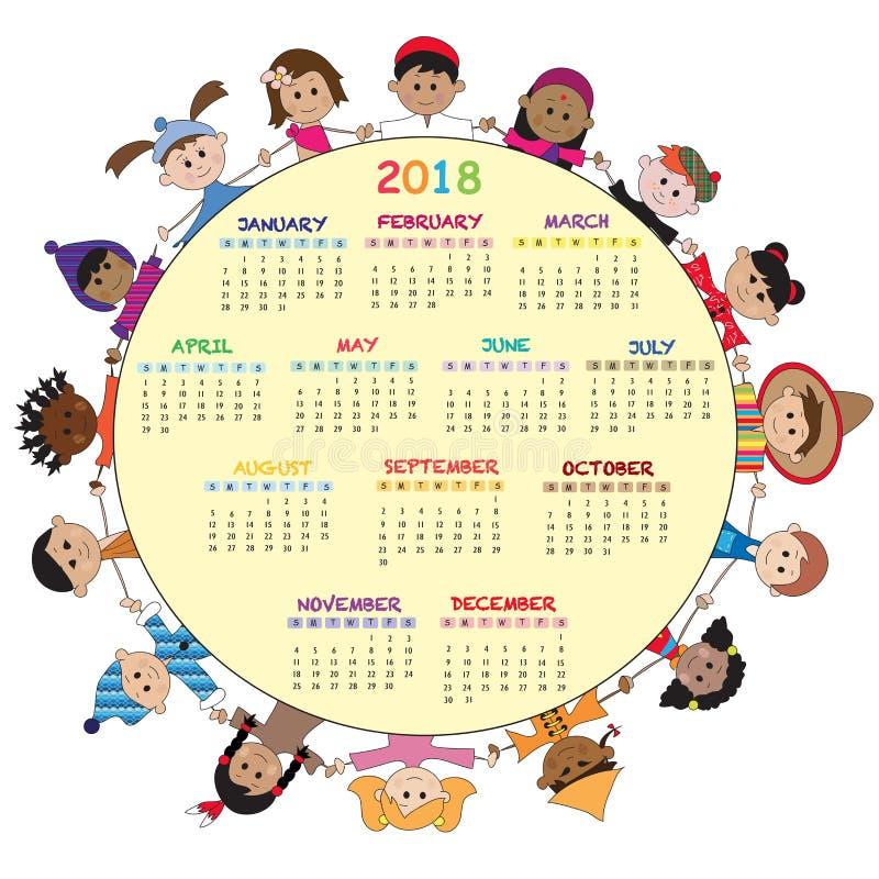 Kalender 2018 royalty-vrije illustratie