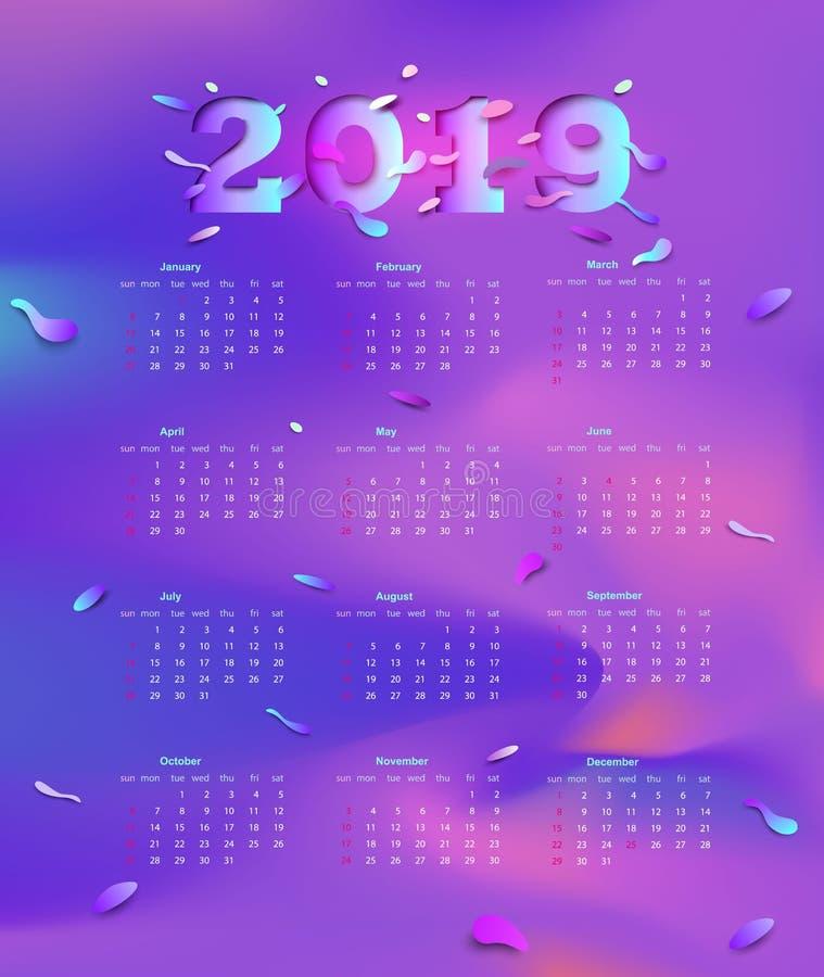 kalender 2019 Affischkalender av mallen för modern design Purpurfärgade lutningar Veckastarterna på söndag vektor stock illustrationer
