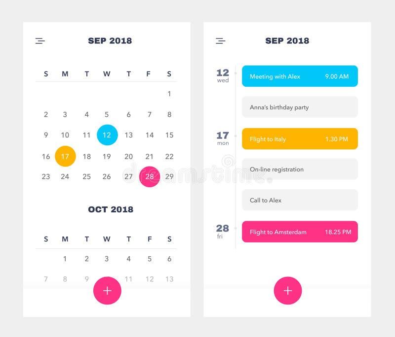 Kalender-Anwendungsschablone mit, zum der Liste und der Aufgaben UI UX zu tun Design für Handy Zu APP UI tun Veranstaltungskalend stock abbildung