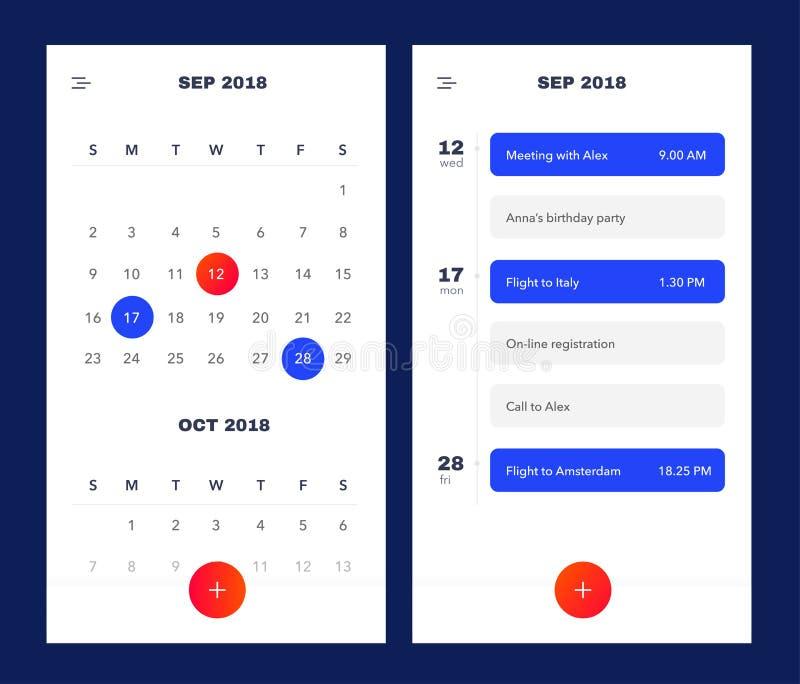 Kalender-Anwendungsschablone mit, zum der Liste und der Aufgaben UI UX zu tun Design für Handy Zu APP UI tun Veranstaltungskalend lizenzfreie abbildung
