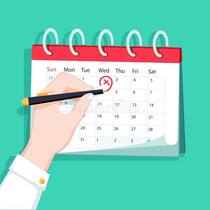 Kalender auf der Wand und der Hand, die einen Tag auf ihr markieren Auch im corel abgehobenen Betrag lizenzfreie abbildung