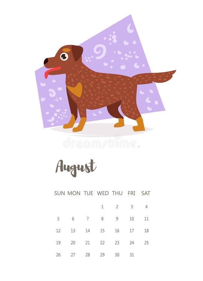Kalender August Vector 2018 cartoon royaltyfri illustrationer