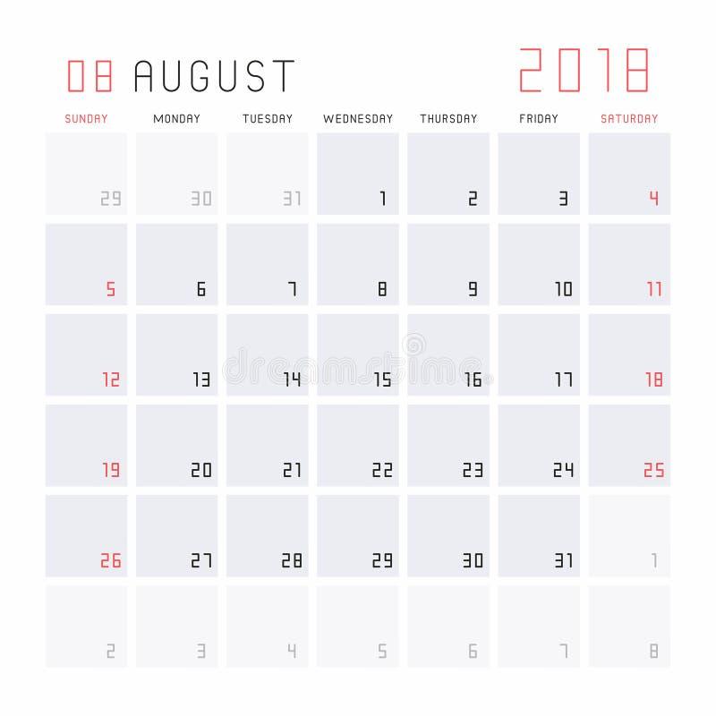 Kalender Augustus 2018 stock illustratie