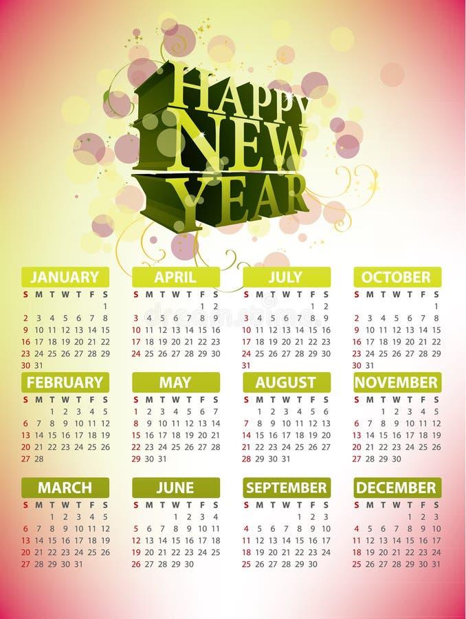 Kalender-Auslegung 2011 stock abbildung