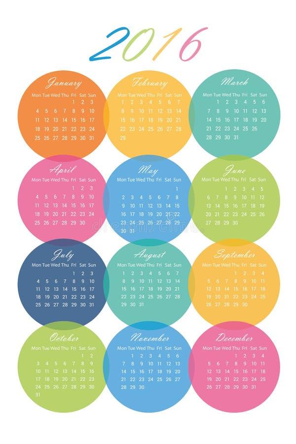 Kalender av 2016 i färgrika cirklar stock illustrationer