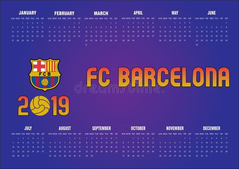 Kalender 2019 Barcelonas FC auf englisch stock abbildung