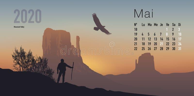 Kalender 2020 bereit, in der französischen Version, Sonnenuntergänge zeigend auf Berglandschaften zu drucken vektor abbildung