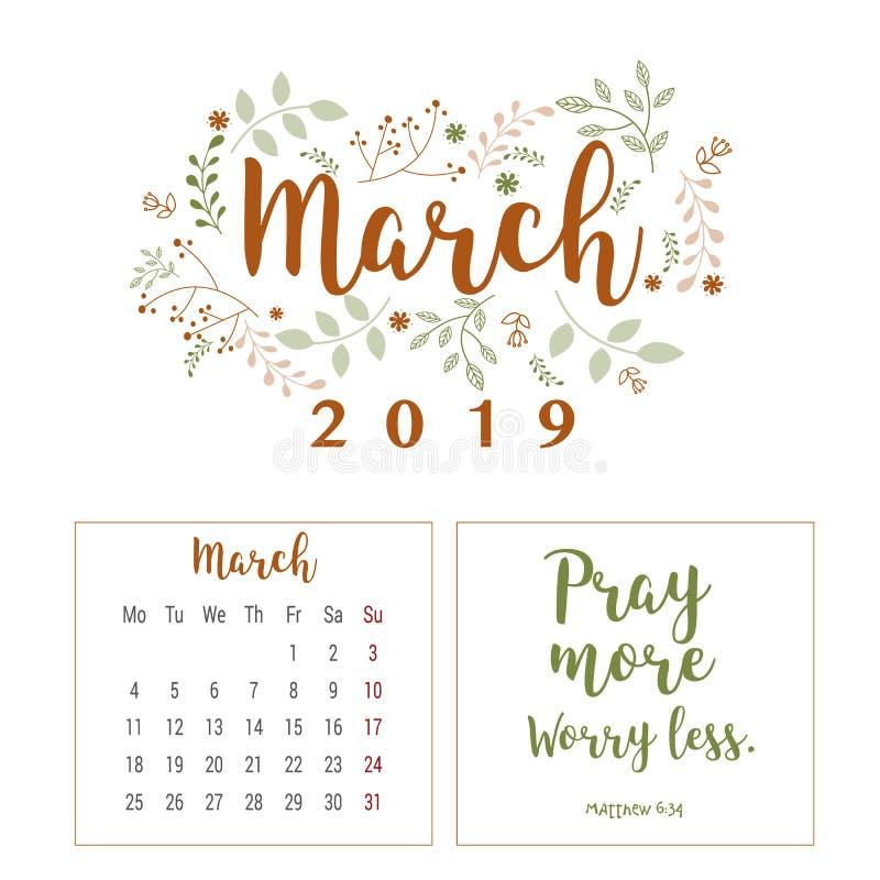 Kalender 2019, blommadesign vektor illustrationer