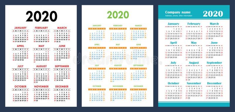 Kalender 2020 Bunter Satz Wochenanfänge am Sonntag Grundraster Englische Vektorkalendersammlung für Druck Neues Jahr farbe stock abbildung