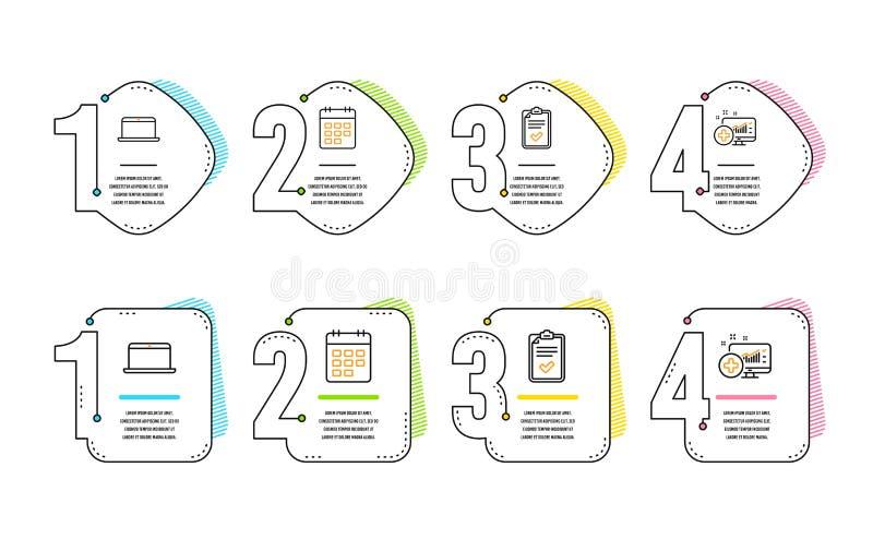 Kalender-, Checklisten- und Laptopikonensatz Medizinisches Analyticszeichen Ereignisanzeige, ?bersicht, mobiler Computer Vektor lizenzfreie abbildung