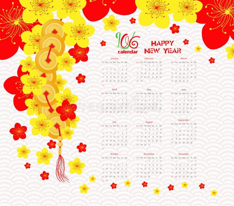 Kalender 2016 Chinees Nieuwjaar Cherry Blossom vector illustratie